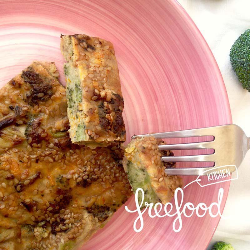 Tarta de brócoli y cebolla