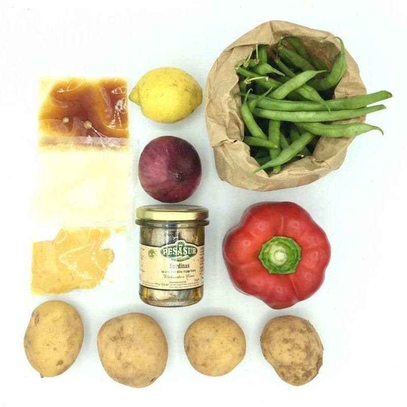 Pack de ensalada de judías verdes, patata y sardinas con vinagreta de mostaza
