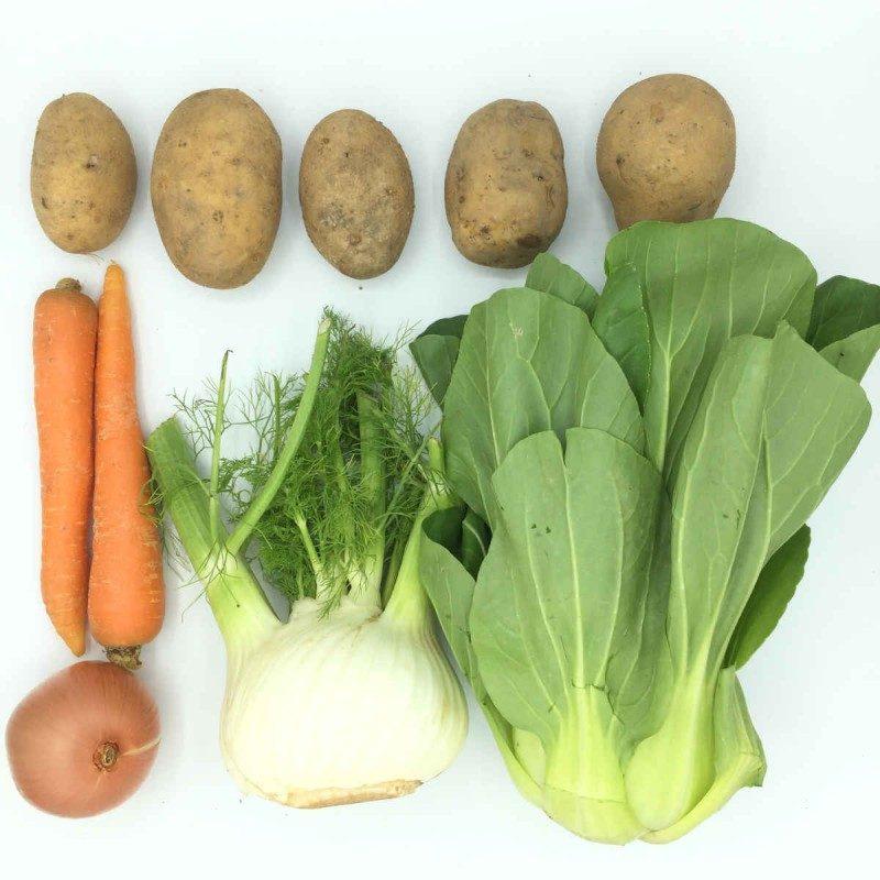 Pack de Menestra de pack choi, patata, zanahoria e hinojo
