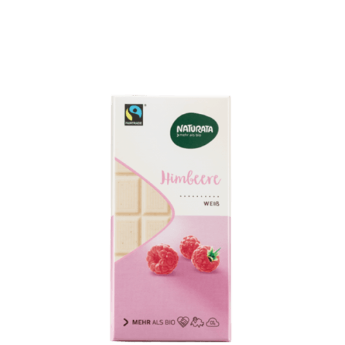 Tableta de chocolate blanco con frambuesas