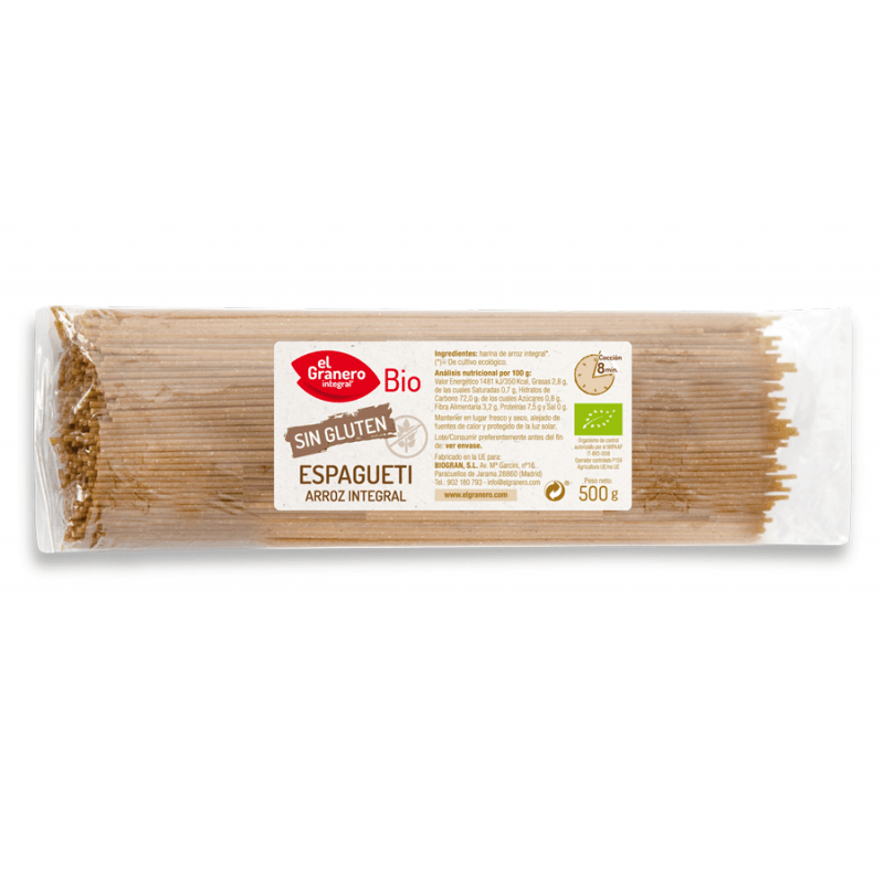 Espagueti de arroz integral - 500gr - Biogran